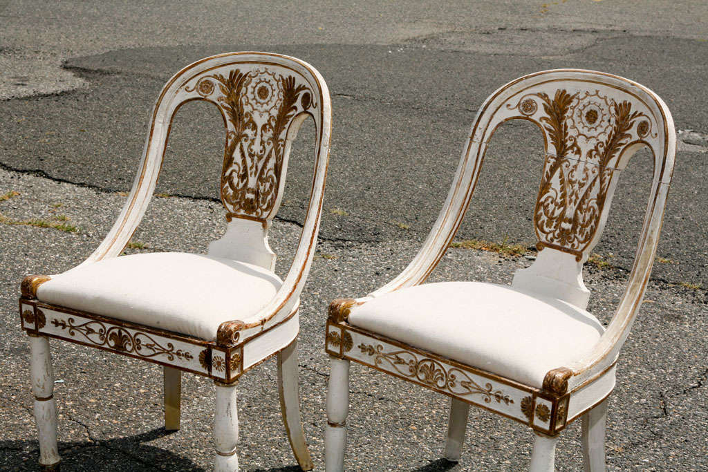 Classical painted italian side chairs at 1stdibs