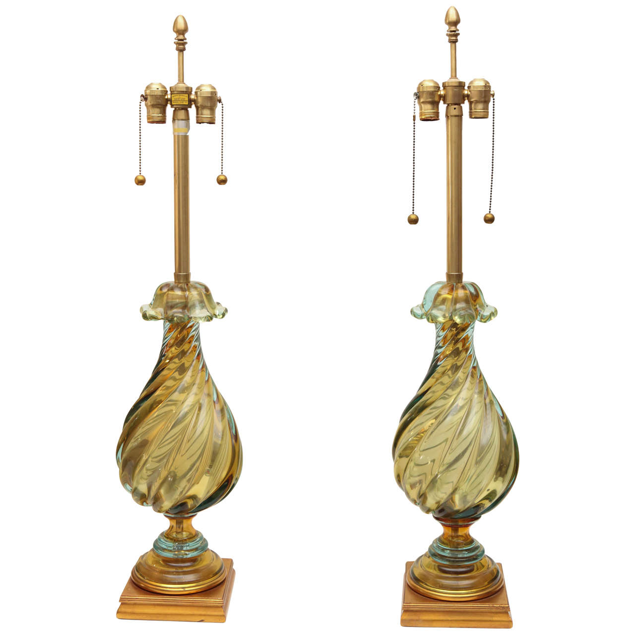 Large Lamps For Sale Pair Of Large Twisted Glass Marbro Lamps For Sale At 1stdibs