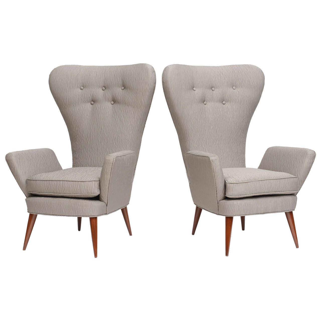 Pair of italian modern high back chairs italy 1