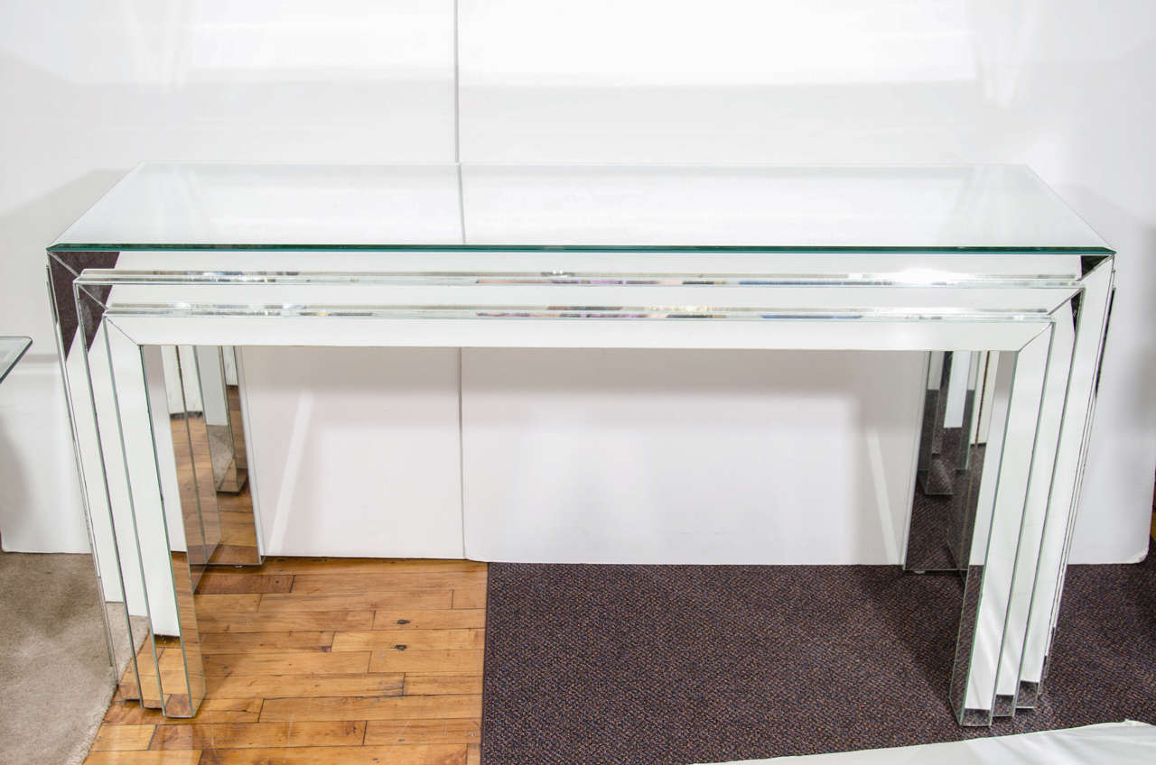 Midcentury mirrored glass console table with mirrored surface in as is condition 2