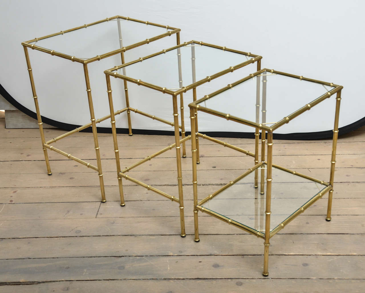Glass Nesting Tables Set Of Three Brass And Glass Faux Bamboo Nesting Tables
