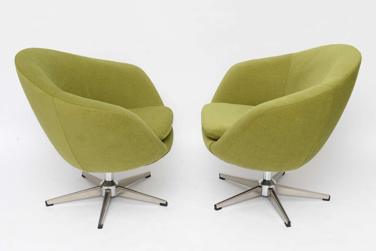 Classic Swedish Overman Swivel Egg Chairs At 1stdibs