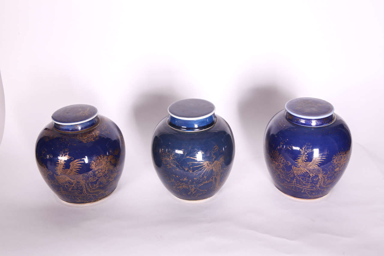 Three Chinese Late 18th Century Blue Glazed And Gilt