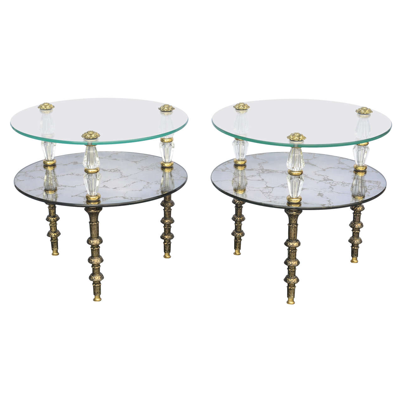 Metal Glass End Tables Hollywood Regency Goran Belgium Glass End Tables