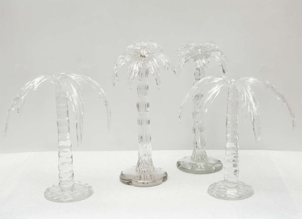 Arte Murano Caracas Pair Of Hand Blown Glass Palm Trees