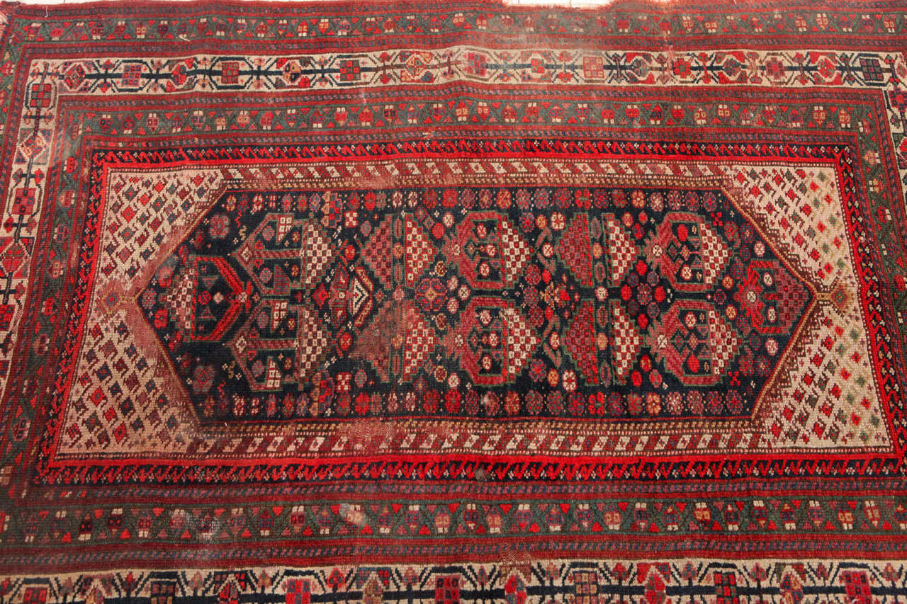 Woven Distressed Persian Rug In Red Blue And Cream At