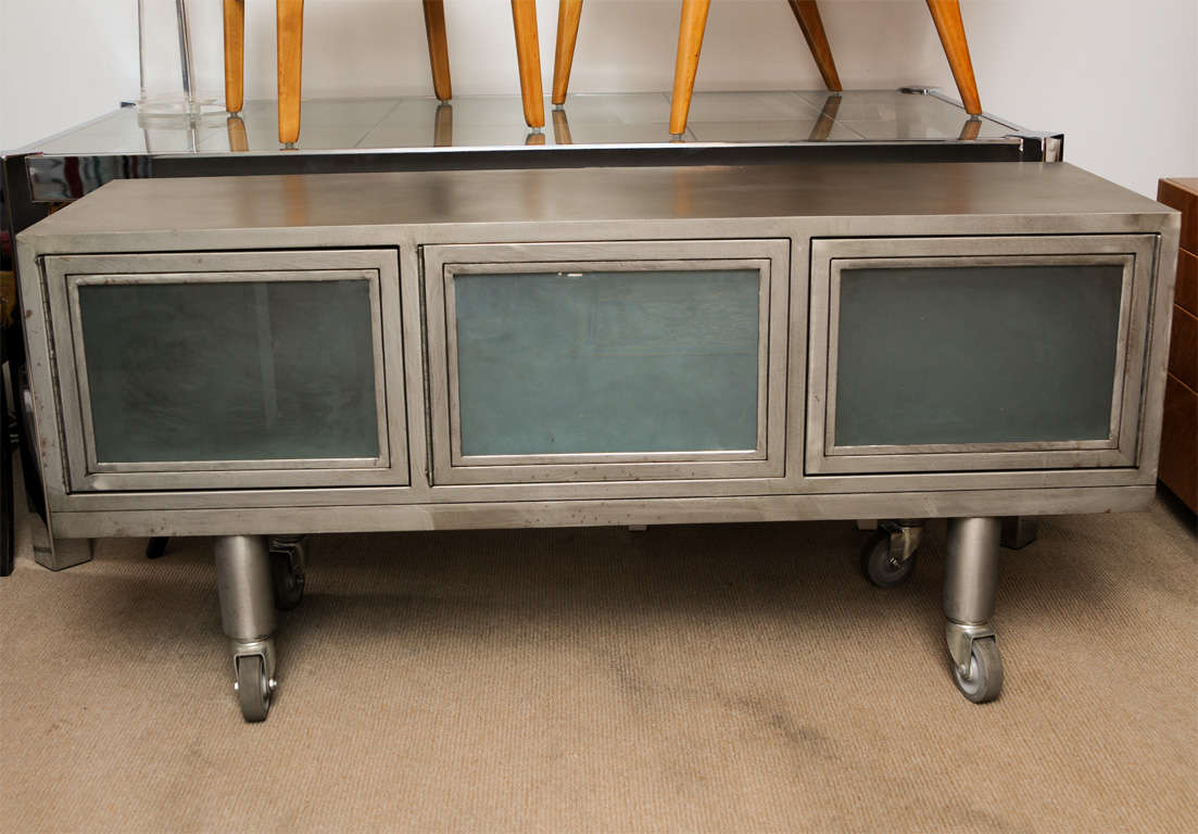 Industrial Media Cabinet Credenza At 1stdibs