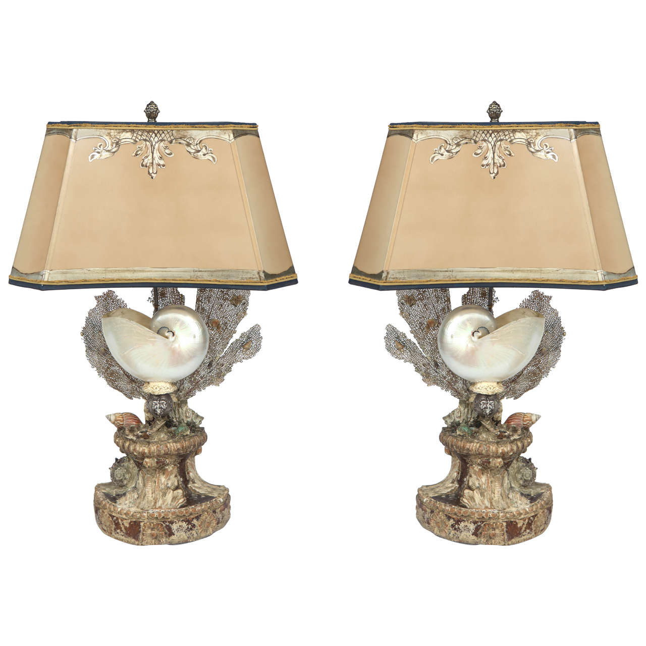 Large Lamps For Sale Pair Of Large Seashell Lamps At 1stdibs