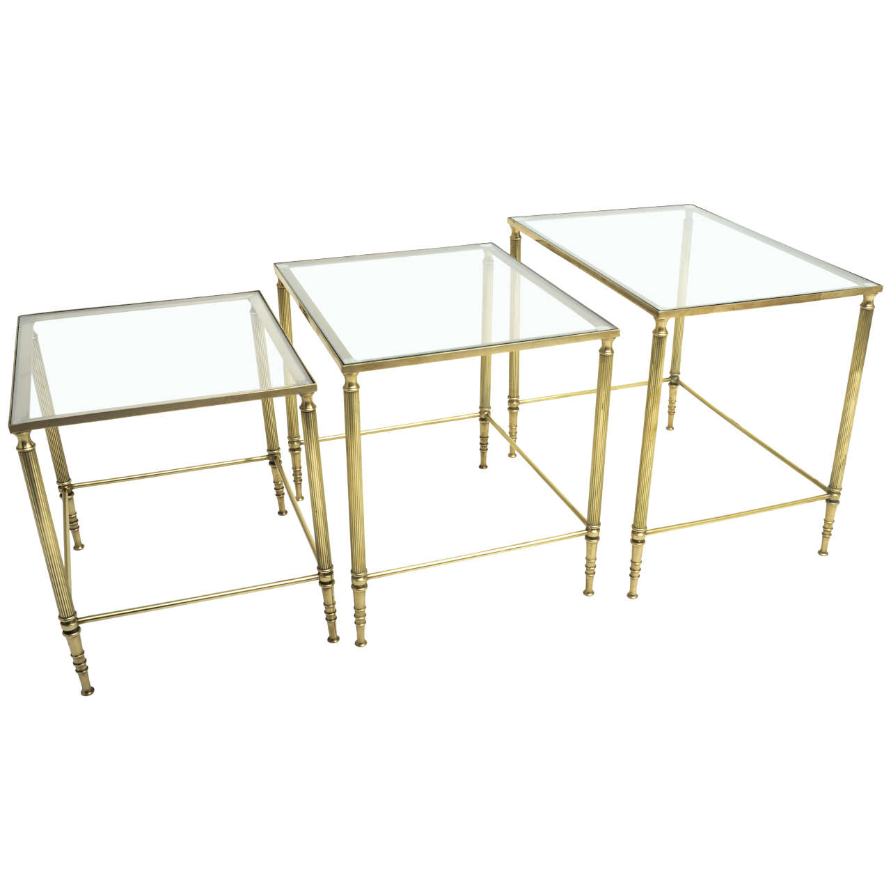 Glass Nesting Tables Mid Century Modern French Brass And Glass Nesting Tables