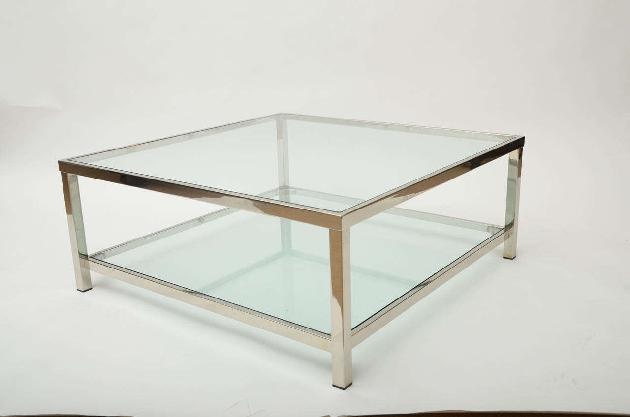 Chrome and glass square coffee table 2