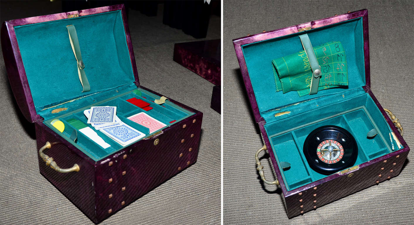 Chest Game Set 1960s Italian Trunk Game Set Chest By Aldo Tura At 1stdibs