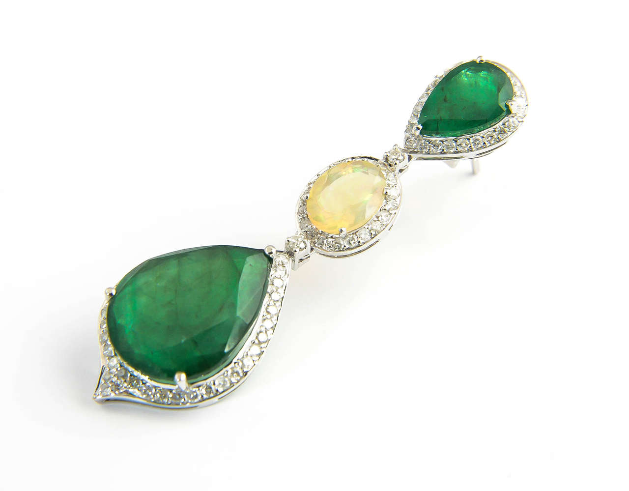 Red Carpet Style Long Emerald Opal Diamond Gold Earrings