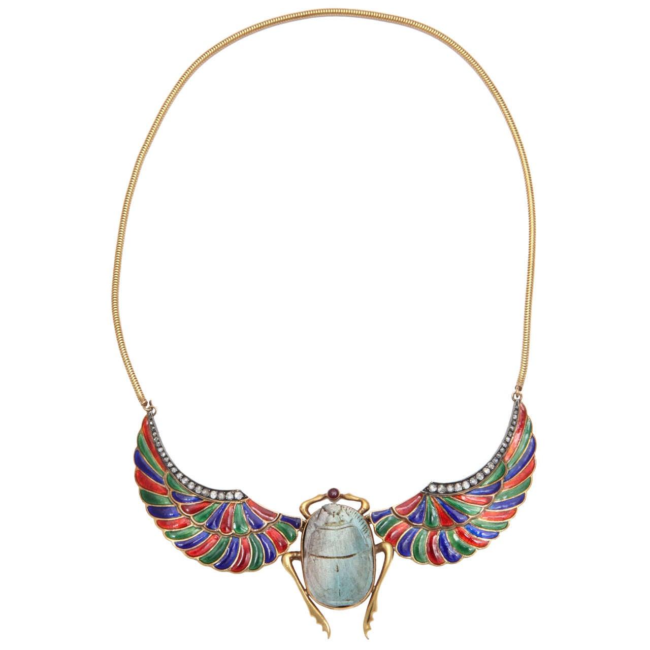Egyptian Revival Enamel Faience Ruby Diamond Gold Scarab