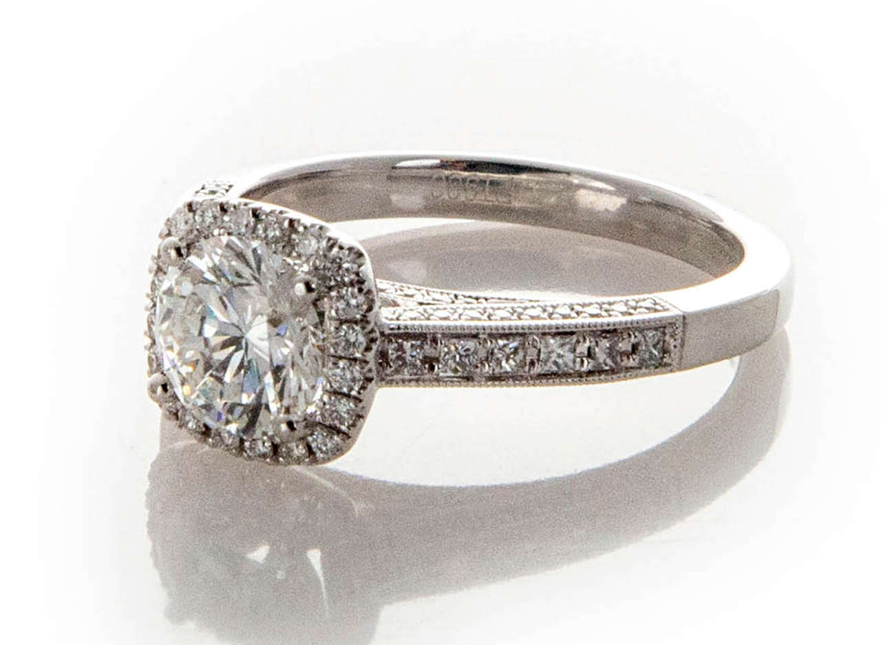 Sylvie Cushion Halo Diamond Platinum Ring For Sale At 1stdibs
