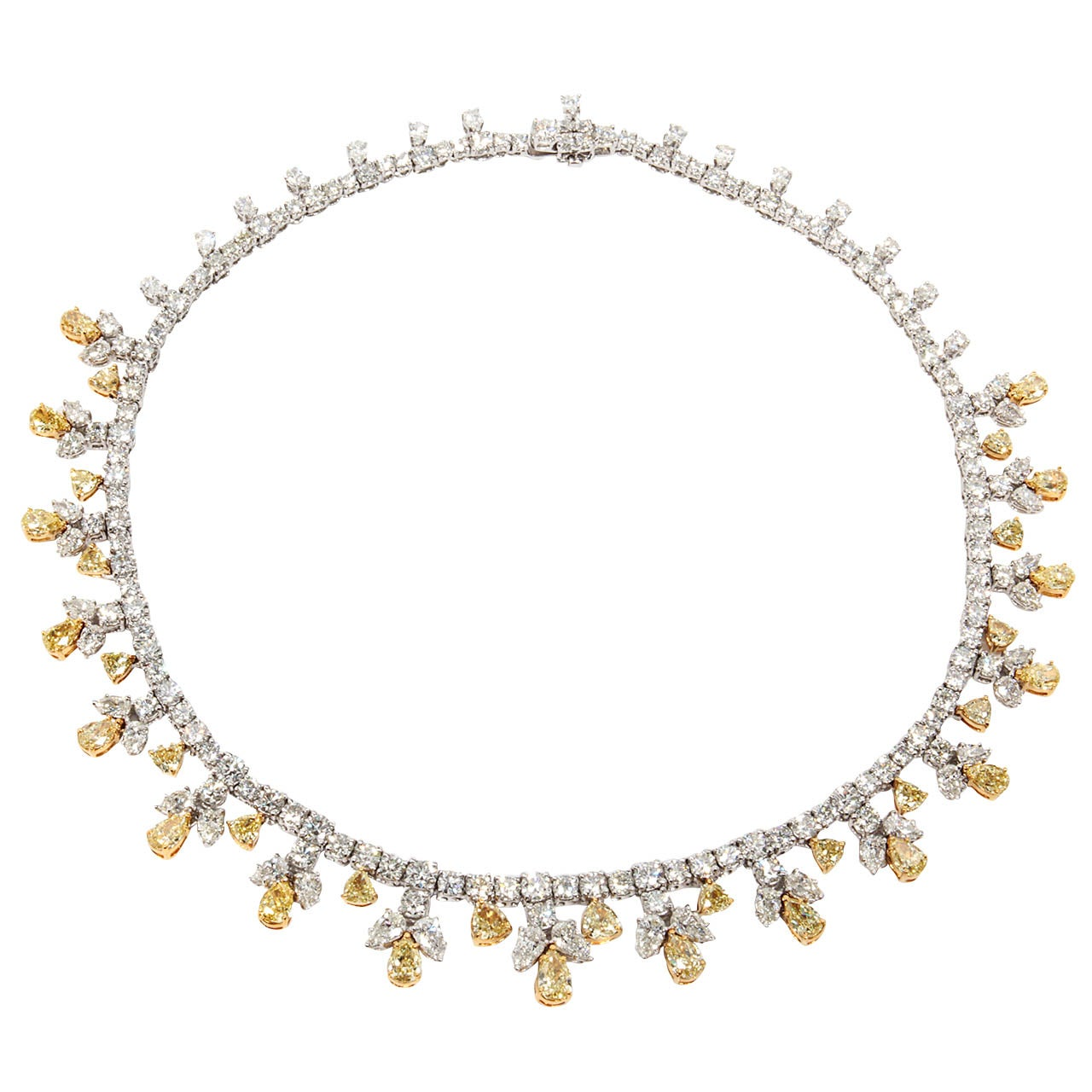Classic yellow and white diamond platinum necklace
