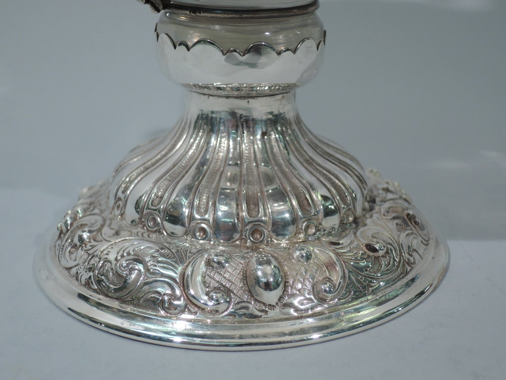 Art Deco Style Jugs George V Decanter - English Sterling Silver And Etched