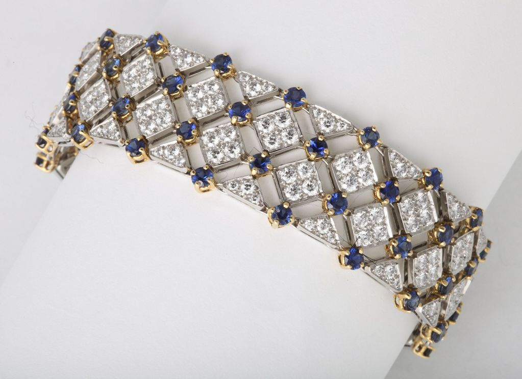 Tiffany And Co Diamond Sapphire Bracelet For Sale At 1stdibs