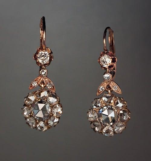 Antique Rose Cut Diamond Earrings at 1stdibs