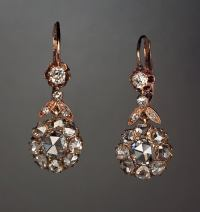 Antique Rose Cut Diamond Earrings at 1stdibs