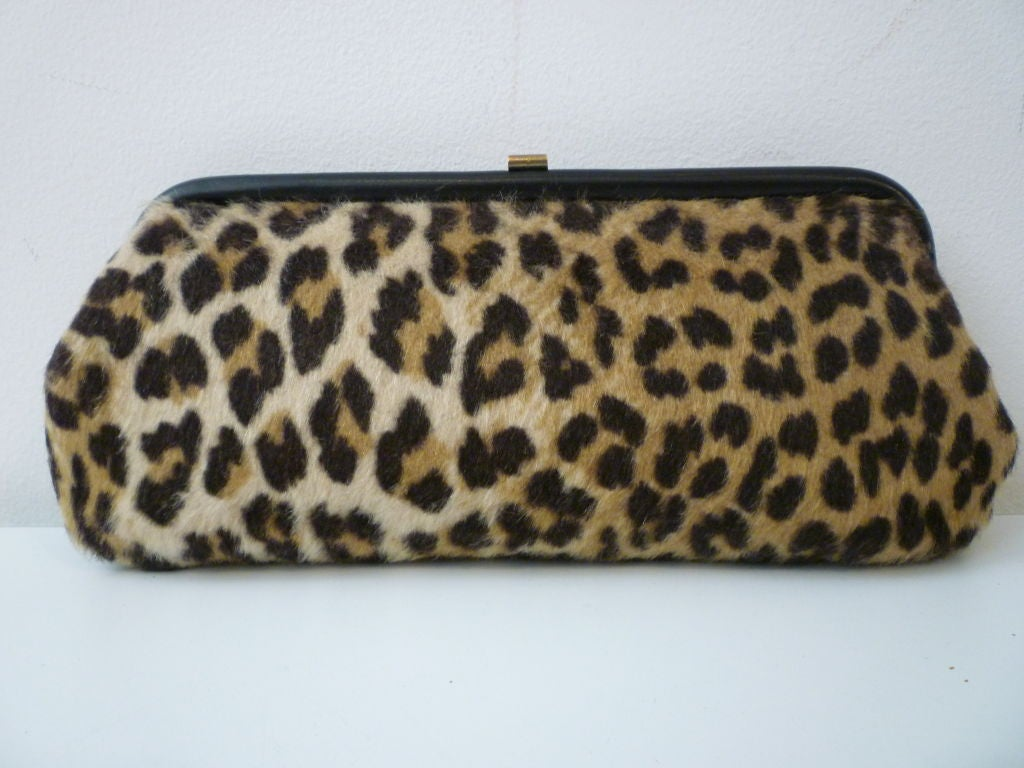 Fun 50s Faux Leopard Clutch At 1stdibs