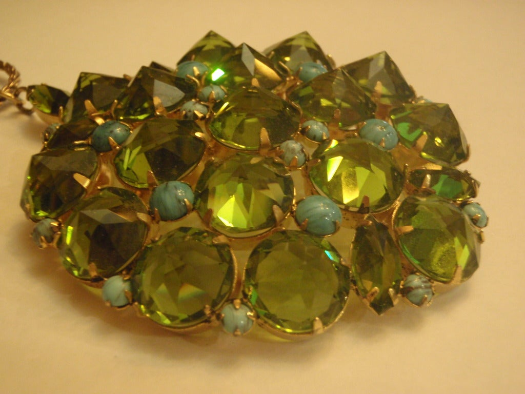 Schreinerei Frechen Schreiner New York Signed Huge Green Rhinestone And