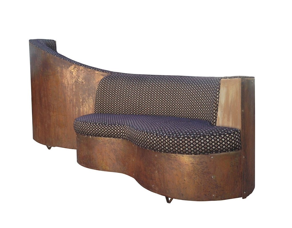 Two Sided Sofa Art Deco Double Sided Copper And Wood Upholstered Sofa
