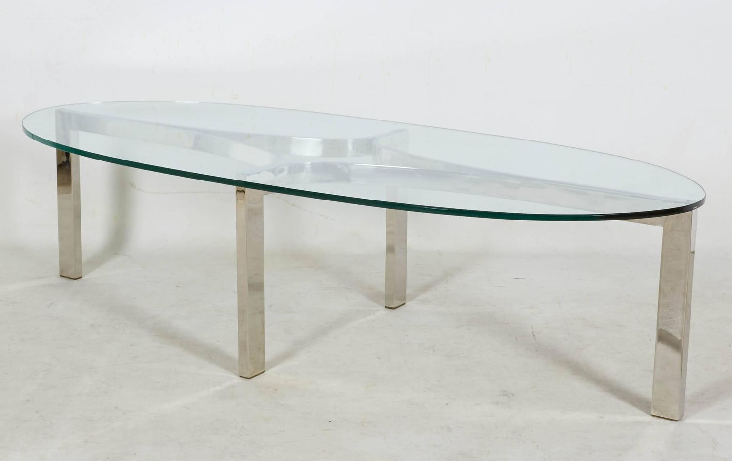 Sculptural Coffee Tables Chrome And Glass Sculptural Oval Coffee Table At 1stdibs