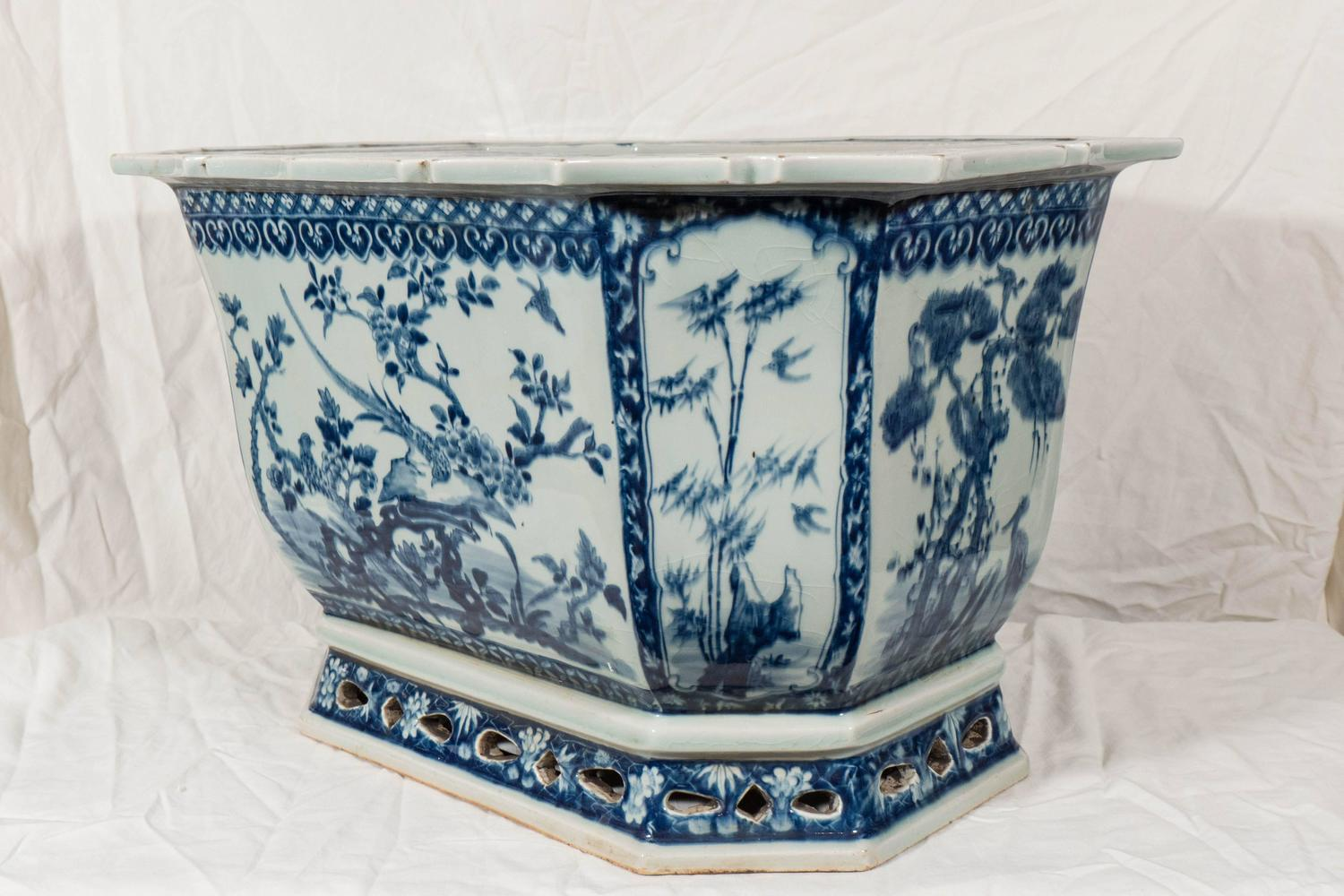 Porcelain Planters Ceramic A Chinese Porcelain Blue And White Planter At 1stdibs