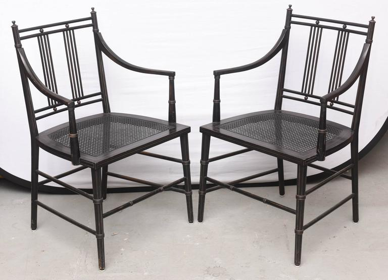 Pair Of Black Caned Bottomed Chairs 1970s Usa For Sale