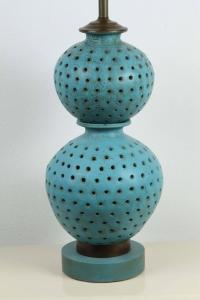 Large Beautiful Pierced Ceramic Table Lamp For Sale at 1stdibs