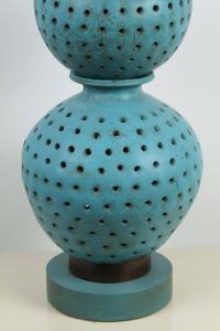 Large Beautiful Pierced Ceramic Table Lamp at 1stdibs