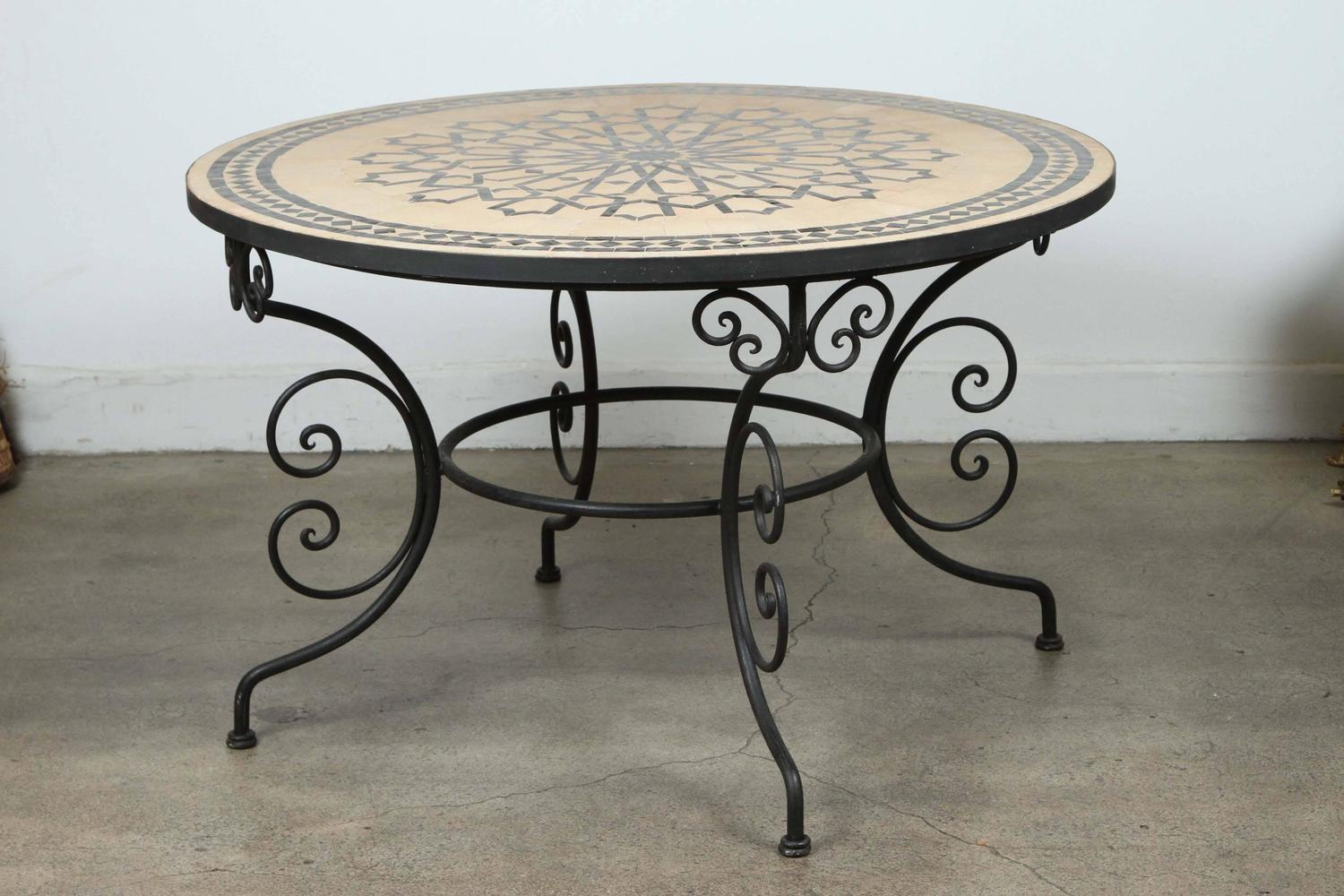 Outdoor Furniture Dining Set Sale Moroccan Outdoor Round Mosaic Tile Dining Table On Iron Base 47 In