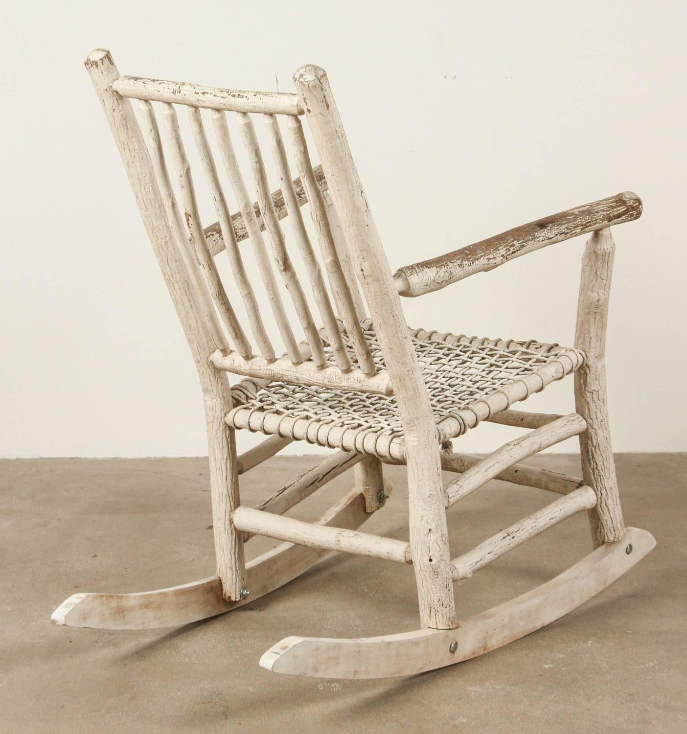 White Wooden Rocking Chairs For Sale White Painted Rustic Rocking Chair For Sale At 1stdibs