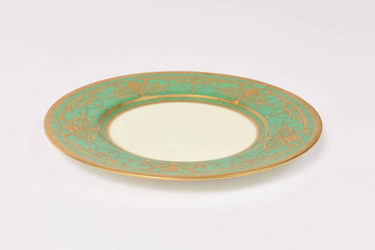 12 Elaborate Gilt Encrusted Antique Green And Gold Dinner