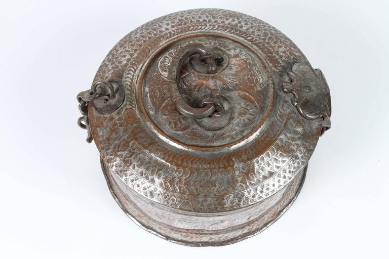Large Decorative Round Bronze Box With Lid For Sale At 1stdibs