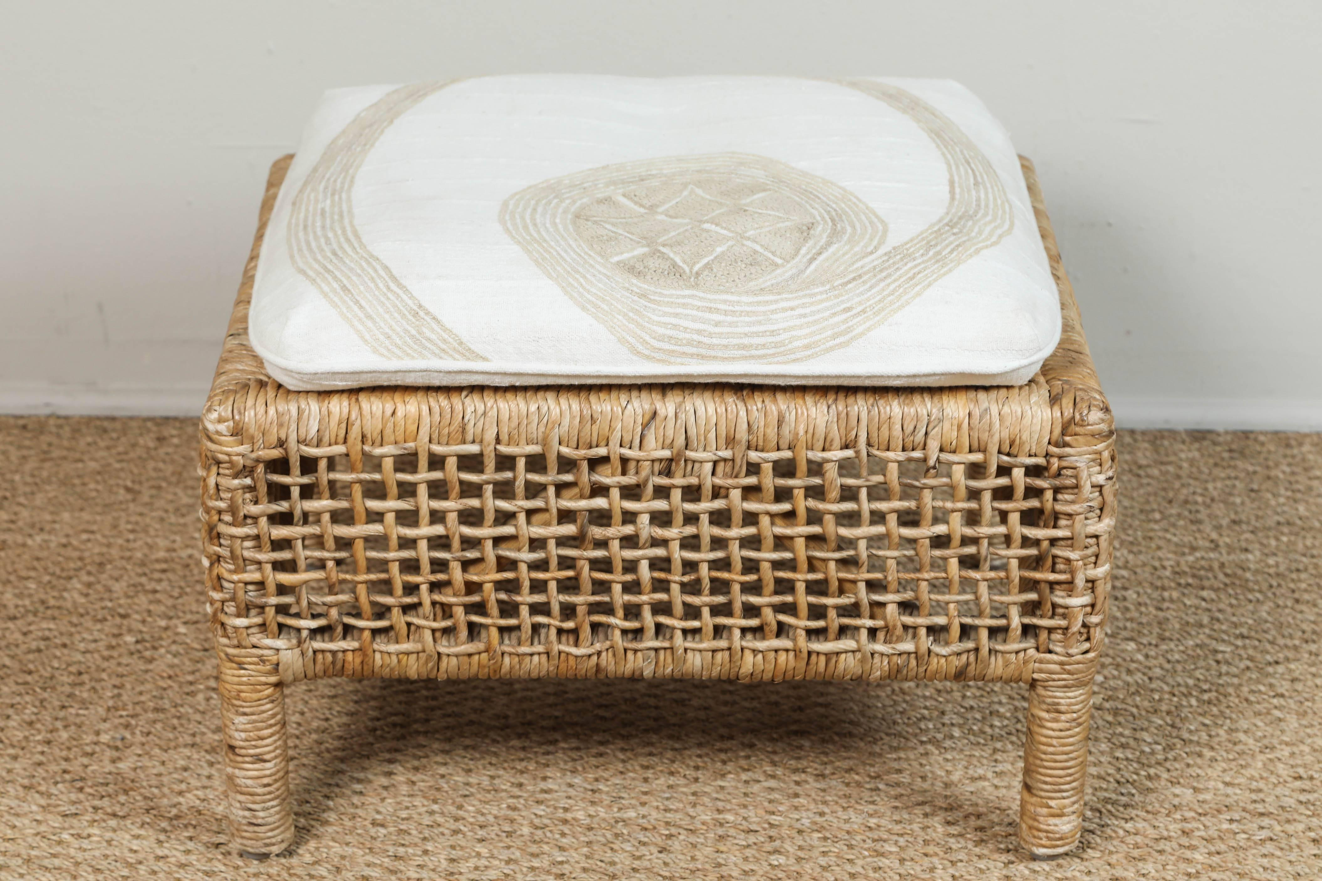 Rattan Chair And Ottoman With African Textile Cushions For