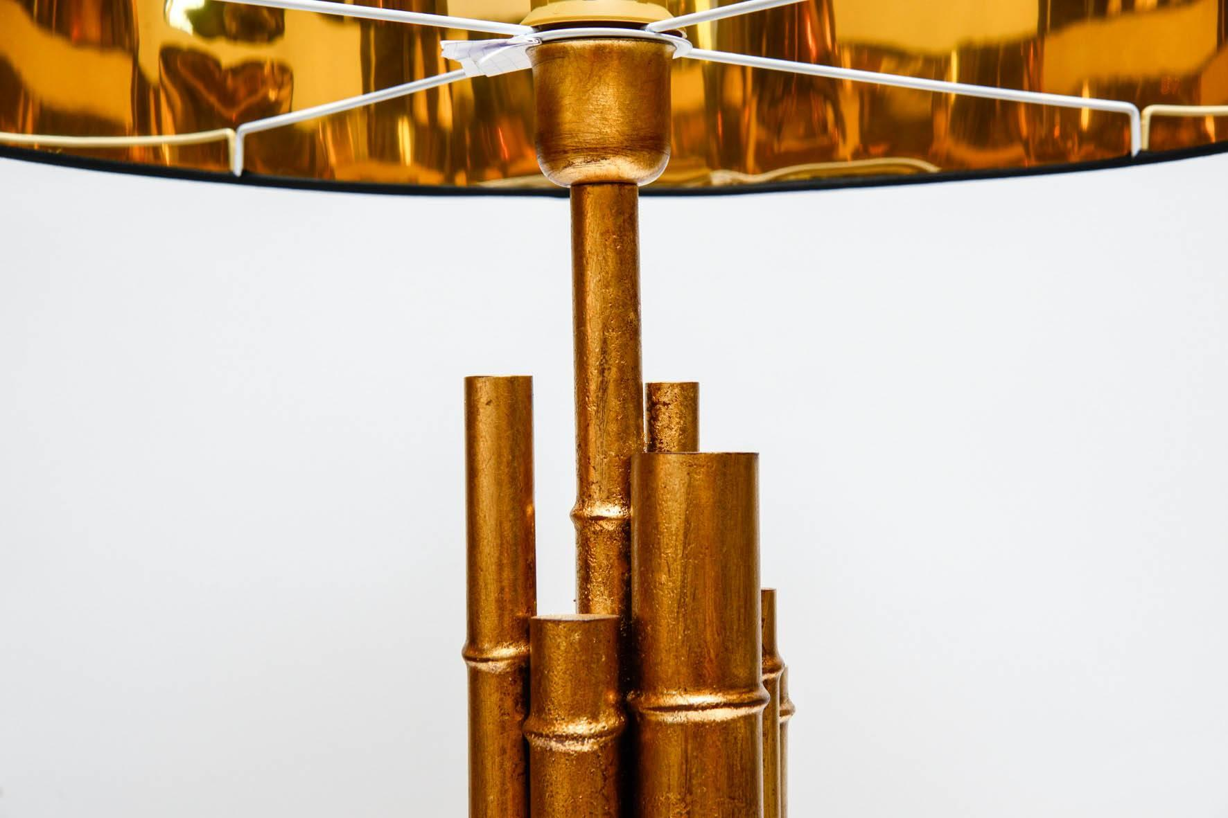 Pair Of Metal And Brass Bamboo Style Table Lamps For Sale