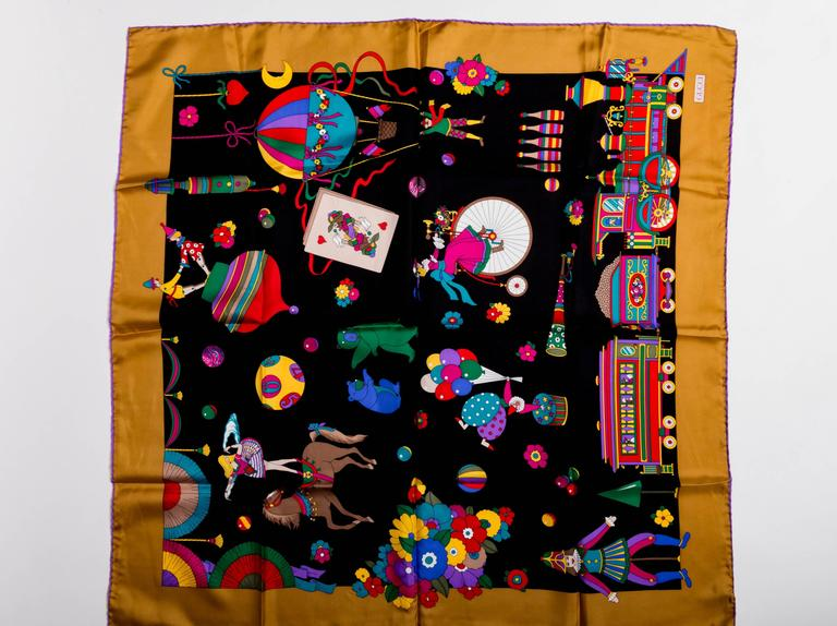 Vintage Circus Theme Gucci Silk Scarf With A Gold Border