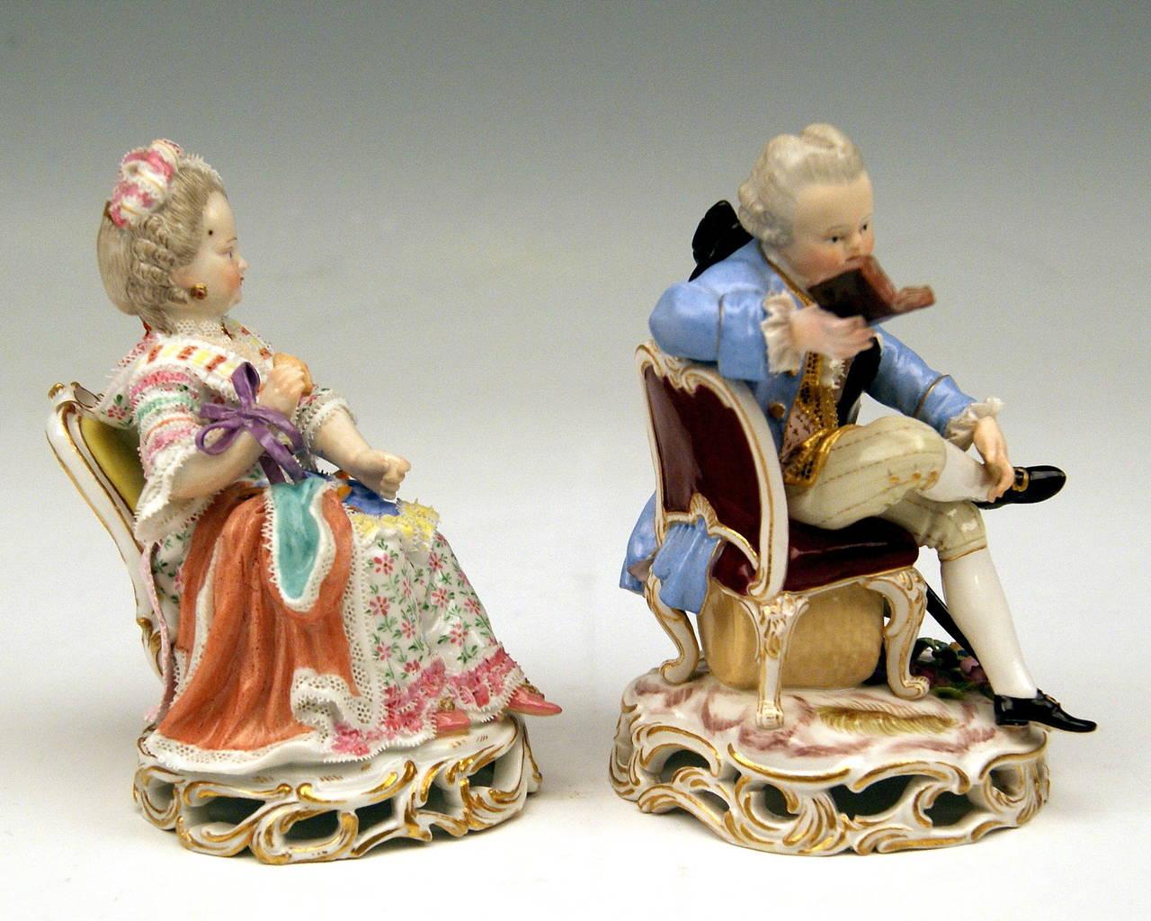 Meissen Pair Of Child Rococo Figurines Model C28 By Acier
