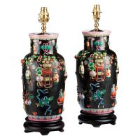Pair of Canton Porcelain Lamps For Sale at 1stdibs