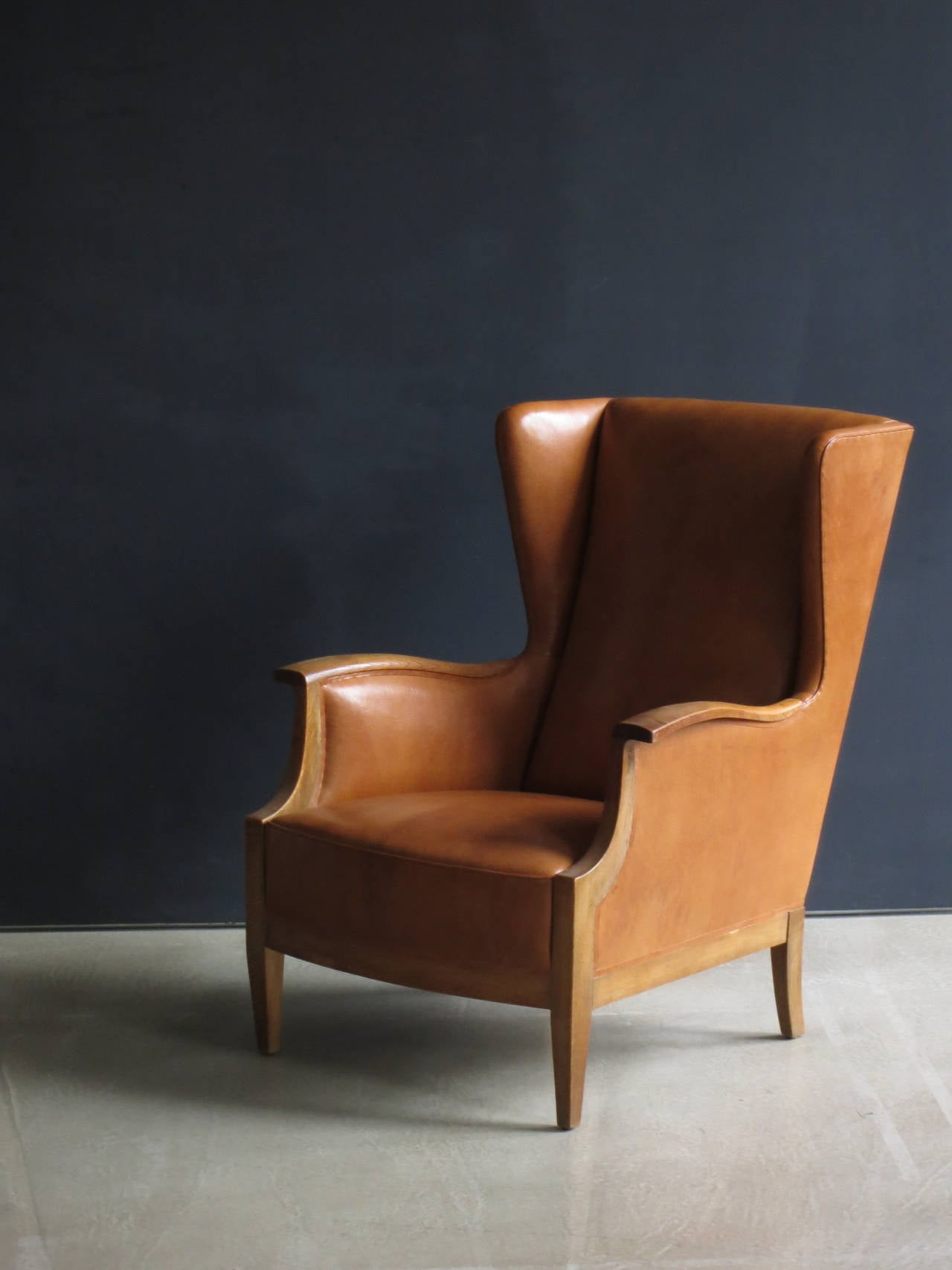 Furniture Fabric In Nigeria 1930s Wingback Chair In Nigerian Leather And Oak By Frits