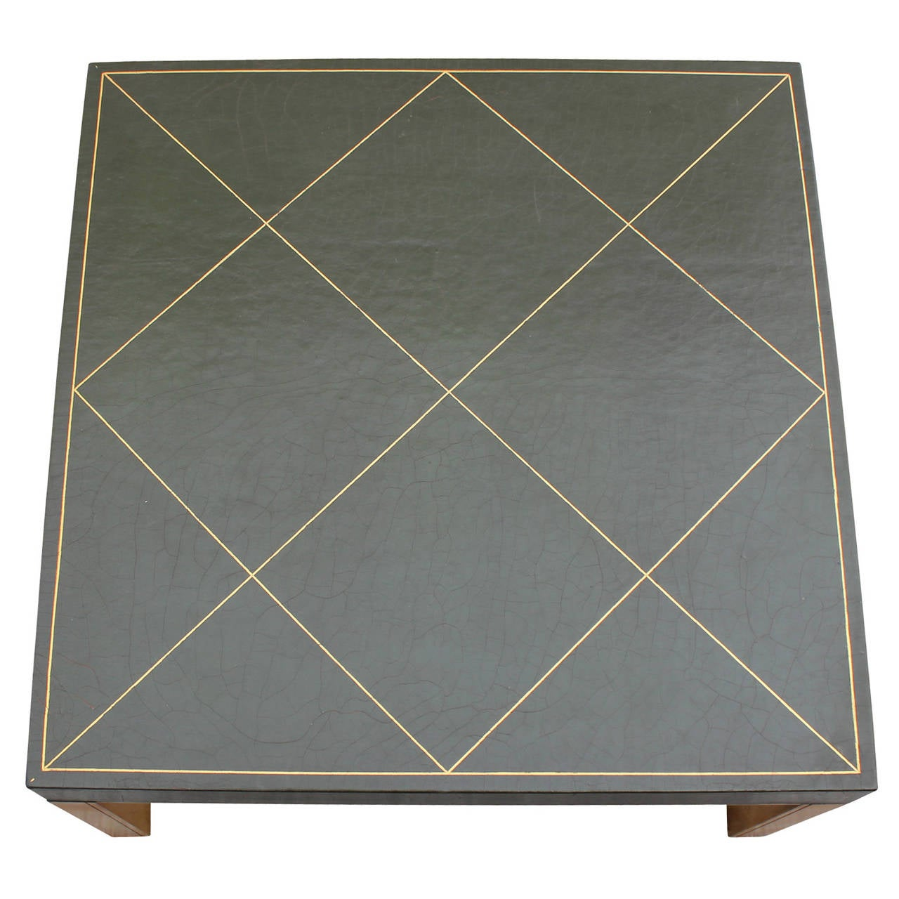 Tommi Pflanzerde 70 Liter Green Leather Tommi Parzinger Style Coffee Table For Sale