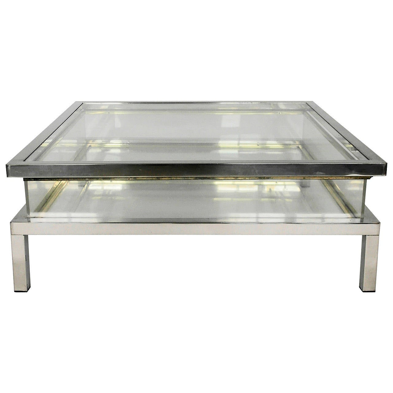 Chrome Coffee Table Mid Century Chrome And Perspex Sliding Box Coffee Table