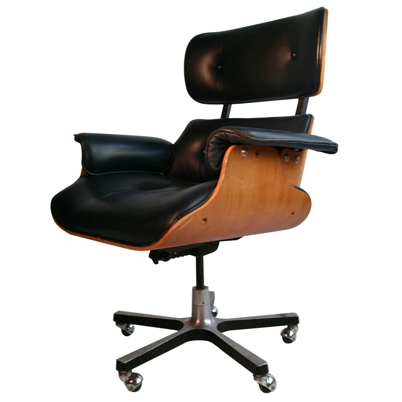Office Chair Styles Modernist Eames Style Leather Desk Chair At 1stdibs