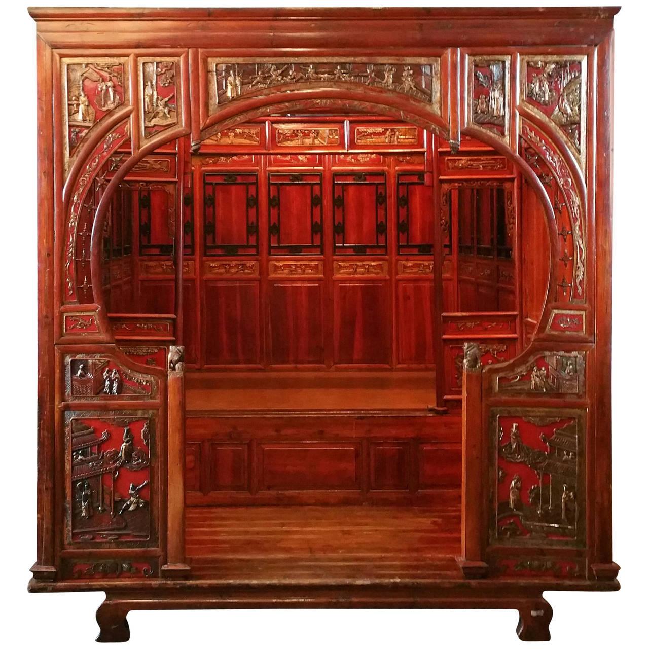 Japanese Canopy Bed Antique Chinese Carved Canopy Bed With Alcove For Sale At