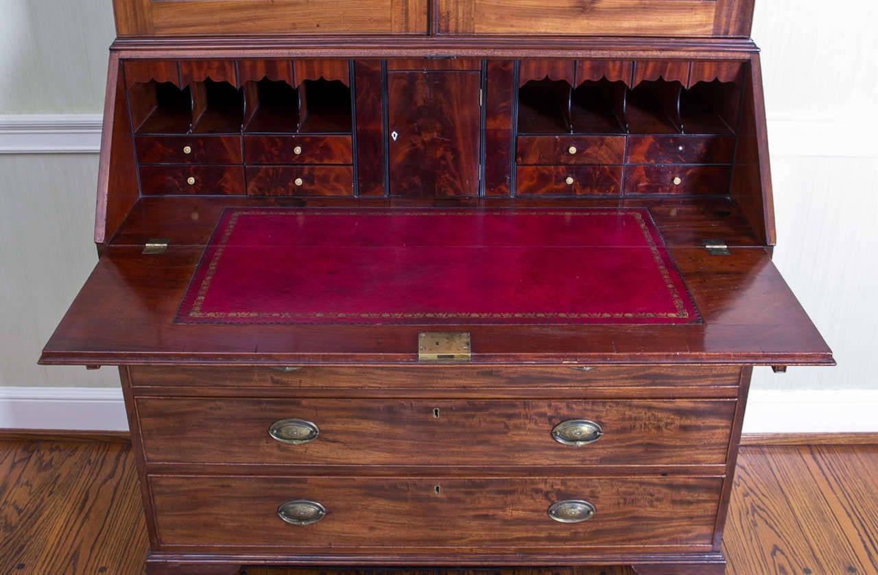 Richly Hued George Iii Mahogany Bureau Bookcase For Sale