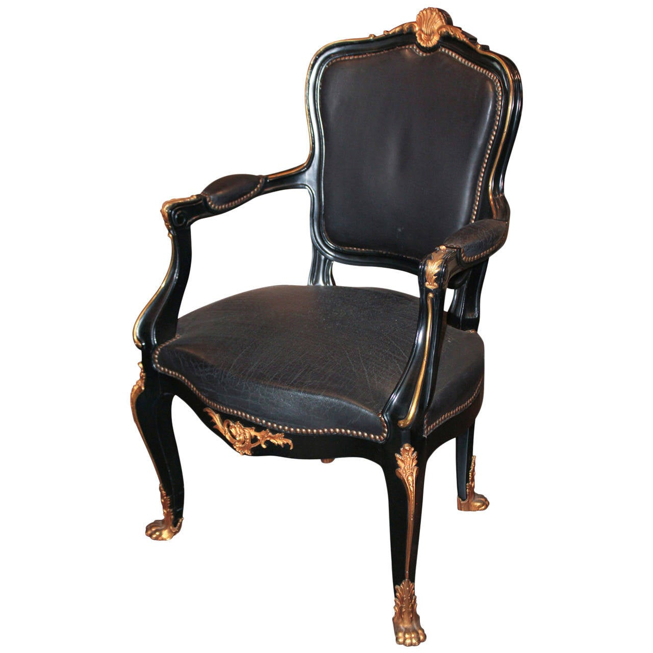 Office Chair Styles Louis Xv Style Black Lacquered Desk Chair At 1stdibs