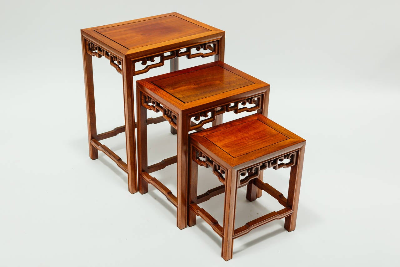 Asian Nesting Tables Set Of Asian Modern Teak Nesting Tables At 1stdibs