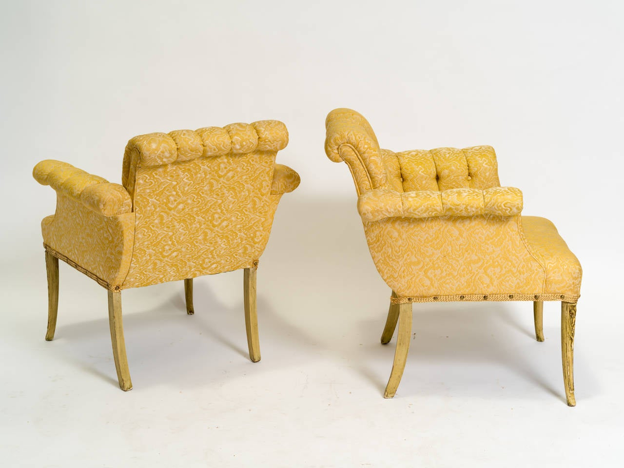 Pair Of 1940s Hollywood Regency Tufted Lounge Chairs For