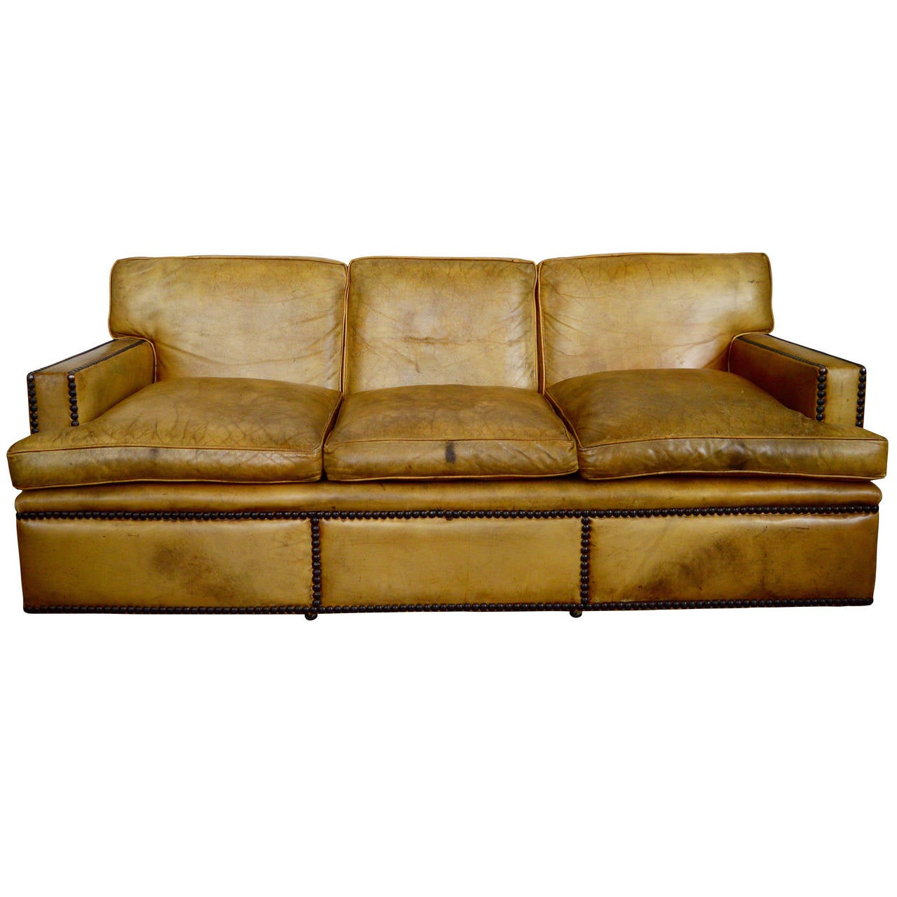 Big Sofa Colonial English Georgian Style Leather Sofa With Large Brass